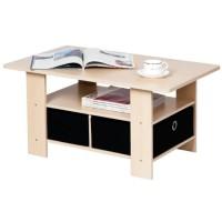 Funika 11158 SBE / BK - Coffee Table dengan 2 Rak Kain - Cokelat Muda / H