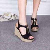 Sepatu Wedges Wanita High Heels Hak Tinggi Casual Pesta Murah DERW1