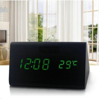 LED Digital Wood Clock Cube | JK-839 | Jam Waker Meja Motif Kayu Unik