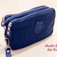 Multi Zipper Hp Pouch NAVY BLUE (3 Sekat, muat 3 hp hingga uk 6 inch)