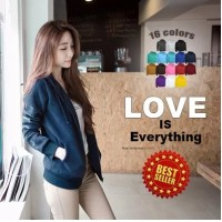 Jual Basic Jacket Hoodie UNISEX with Zipper** available in 16 colours 100% Murah