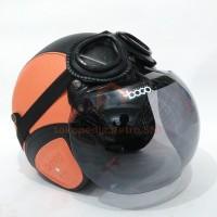 Helm Retro SNI Orange Hitam Bogo Google Asli