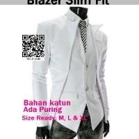 Blazer SLIM FIT putih-Korea Style Code; KGGF02