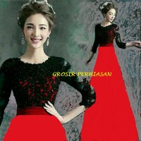 Jual Dress merah imlek red / sinchia / gaun pesta / 2 ukuran BROKAT fit XL Murah
