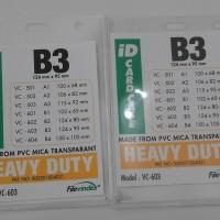PLASTIK NAME TAG TRANSPARENT UKURAN B3 ( 124 X 95 mm )