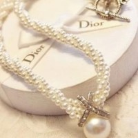 Pearl Necklace Small Plastic 3-Layer Pearl Pendant Crystal Ornament