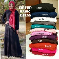 Jual Baju / Gamis / Polos / Jersey / Busui Zipper Basic Dress Murah