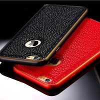 Fashional Leather and metalic Cover Case For iPhone 6 PLUS- BLACK-RED