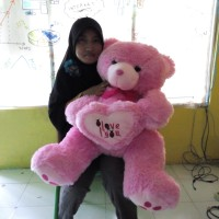Jual Boneka Teddy Bear Besar Pink I Love you Uk.80cm Murah