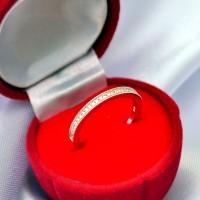 Cincin Wanita Perak Berlapiskan Emas Putih RL 059