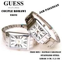 JAM PASANGAN GUESS COUPLE ROMAWI KW FULL SET PUTIH (HARGA SATU PASANG)