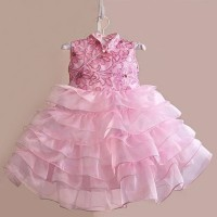 baju anak perempuan CNY pink flower  dress anak pi