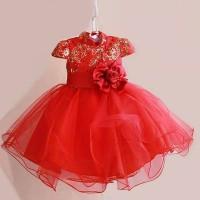 baju anak perempuan red rose dress anak merah mawa