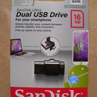 SanDisk Ultra Dual USB Flash Disk OTG 16GB for Komputer & Smartphone