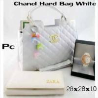 paket 3 in 1 chanel hard bag white