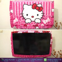 Jual sarung TV / Cover TV LED/LCD motif Hello Kitty dotty pink
