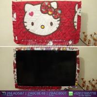 Jual sarung TV / Cover TV LED/LCD motif Hello Kitty leopard merah