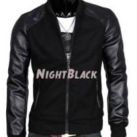 JAKET BLACK NIGHT / JAKET KULIT GALANG GGS HITAM / KOMBINASI + FLEECE