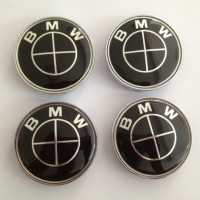 Emblem BMW All Black Velg Center 68mm 3D