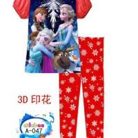 Piyama Frozen Anna Elsa Berpelukan Red