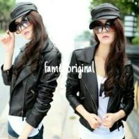 blazer hitam/ jaket kulit sintetis cewe / blazer cewe
