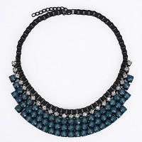 Kalung Korea diamond decorated multilayer design blue