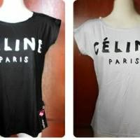t-shirt black white celine paris