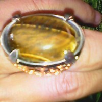 cincin akik jumbo tiger eye biduri sepah natural 100% asli rodium