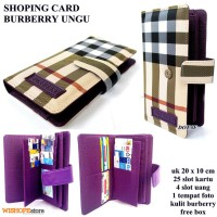 DOMPET KARTU SHOPING CARD KULIT BURBERRY LIGHT UNGU KW