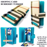 DOMPET KARTU SHOPING CARD KULIT BURBERRY LIGHT TURKIS KW