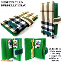 DOMPET KARTU SHOPING CARD KULIT BURBERRY LIGHT HIJAU KW