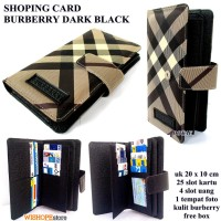 DOMPET KARTU SHOPING CARD KULIT BURBERRY DARK HITAM