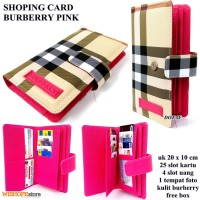 DOMPET KARTU SHOPING CARD KULIT BURBERRY LIGHT PINK KW