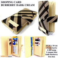 DOMPET KARTU SHOPING CARD KULIT BURBERRY DARK CREAM