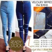 high waist disco jeans dark n light blue ripped
