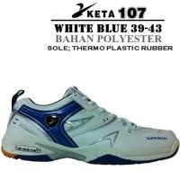 Sepatu Badminton/BuluTangkis/Tennis KETA 107 White/Blue