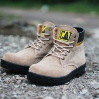 Sepatu CAT Safty Boots Gray Suede Leather