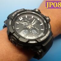 Jam Tangan Pria Sport Militer Dual Time Chronograph - JP085 Silver