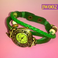 Jam Tangan Wanita Kulit Sulam Tangan Berpendan Daun - W002 Hijau