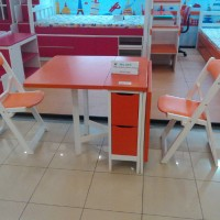 Meja Makan Lipat dan 4 Kursi Makan Lipat Kayu Mahoni warna Orange