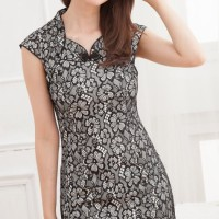 HQ 4748 Lace CHEONGSAM (BLACK) - (S,M,L)