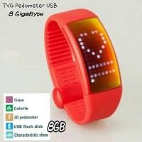 TVG LED WATCH pedometer +USB (merah)