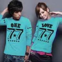 Kaos Couple Lengan Panjang / Baju pasangan One 77 9466