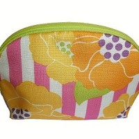 Clinique Pouch Cosmetic Kuning motif ping putih