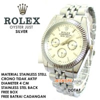 JAM TANGAN STAINLESS ROLEX WATCH OYSTER JUST SILVER CRONE
