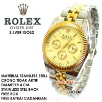 JAM TANGAN STAINLESS ROLEX WATCH OYSTER JUST GOLD CRONE