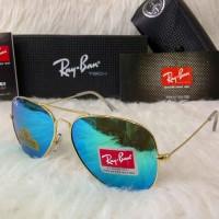 Kacamata Rayban Aviator Diamond Hard Lis Gold Lensa Biru