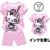 STKDHK92 - Setelan Anak Hello Kitty Rock Star BabyPink