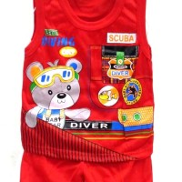 (0 - 6 BLN) Boy Set/Setelan Singlet Anak BABY BEAR DIVING BB412-Red