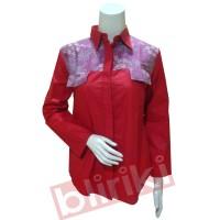 KP06 Kemeja Merah Batik Kombinasi Cap Tulis Modern Murah Desain Unik